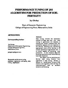 PERFORMANCE TUNING OF J48 ALGORITHM FOR PREDICTION OF SOIL FERTILITY