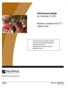 Performance Update. As of December 31, MassMutual Transitions SelectSM II variable annuity
