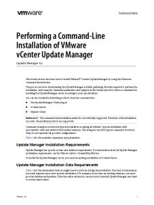 Performing a Command-Line Installation of VMware vcenter Update Manager Update Manager 4.x