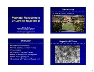 Perinatal Management of Chronic Hepatitis B