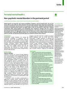 Perinatal mental health 1 Non-psychotic mental disorders in the perinatal period