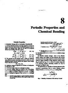 Periodic Properties and Chemical Bonding