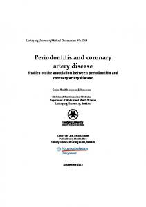 Periodontitis and coronary artery disease Studies on the association between periodontitis and coronary artery disease