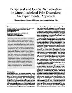 Peripheral and Central Sensitization in Musculoskeletal Pain Disorders: An Experimental Approach
