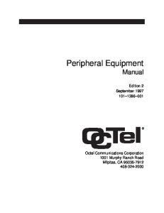 Peripheral Equipment Manual. Edition 2 September