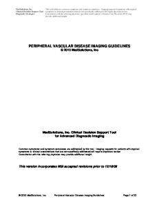 PERIPHERAL VASCULAR DISEASE IMAGING GUIDELINES 2010 MedSolutions, Inc