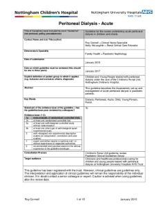 Peritoneal Dialysis - Acute