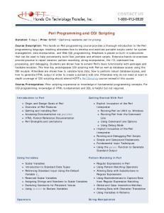 Perl Programming and CGI Scripting