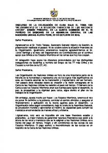 PERMANENT MISSION OF CUBA TO THE UNITED NATIONS 315 Lexington Avenue, New York, N.Y (212) , FAX (212)