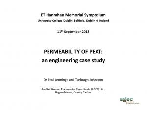 PERMEABILITY OF PEAT: an engineering case study