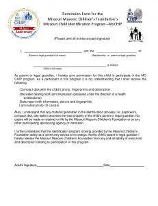 Permission Form for the Missouri Masonic Children s Foundation s Missouri Child Identification Program--MoCHIP