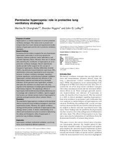 Permissive hypercapnia: role in protective lung ventilatory strategies