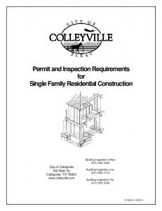 Permit and Inspection Requirements for Single Family Residential Construction