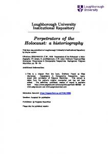 Perpetrators of the Holocaust: a historiography