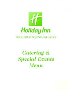 PERRYSBURG FRENCH QUARTER. Catering & Special Events Menu