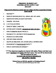 PERSHING ELEMENTARY KINDERGARTEN SUPPLY LIST