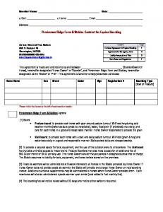 Persimmon Ridge Farm & Stables Contract for Equine Boarding