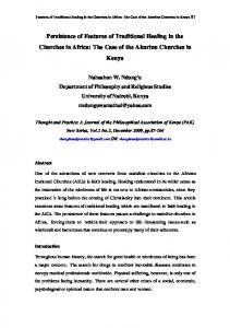 Persistence of Features of Traditional Healing in the Churches in Africa: The Case of the Akurinu Churches in Kenya