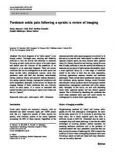 Persistent ankle pain following a sprain: a review of imaging