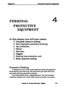 PERSONAL 4 PROTECTIVE EQUIPMENT