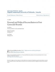 Personal and Political Reconciliation in Post- Genocide Rwanda