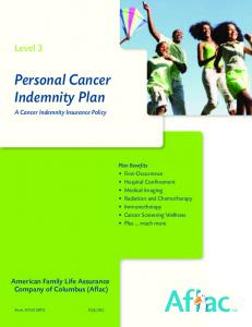 Personal Cancer Indemnity Plan A Cancer Indemnity Insurance Policy