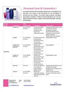 Personal Care & Cosmetics I