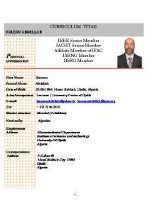 PERSONAL CURRICULUM VITAE. IEEE Senior Member IACSIT Senior Member Affiliate Member of IFAC IAENG Member IISRO Member KOUZOU ABDELLAH
