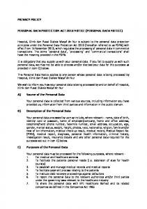 PERSONAL DATA PROTECTION ACT 2010 NOTICE (PERSONAL DATA NOTICE)