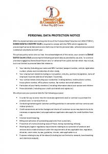 PERSONAL DATA PROTECTION NOTICE
