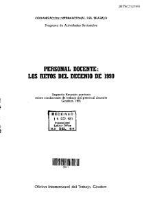 PERSONAL DOCENTE: LOS RETOS DEL DECENIO DE 1990
