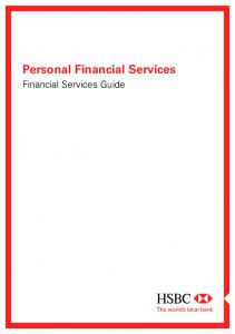 Personal Financial Services. Financial Services Guide