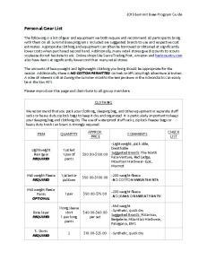 Personal Gear List Summit Base Program Guide