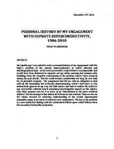 PERSONAL HISTORY OF MY ENGAGEMENT WITH CUPRATE SUPERCONDUCTIVITY,