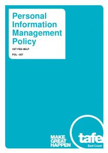 Personal Information Management Policy