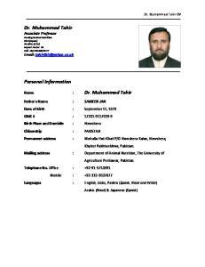 Personal Information. Name : Dr. Muhammad Tahir