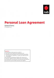 Personal Loan Agreement General Terms