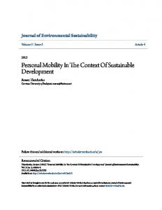Personal Mobility In The Context Of Sustainable Development