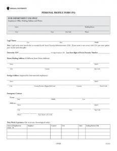 PERSONAL PROFILE FORM (PS)