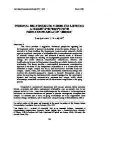 PERSONAL RELATIONSHIPS ACROSS THE LIFESPAN: A SUGGESTIVE PERSPECTIVE FROM COMMUNICATION THEORY 1