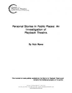 Personal Stories in Public Places: An Investigation of Playback Theatre
