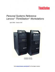 Personal Systems Reference Lenovo ThinkStation Workstations