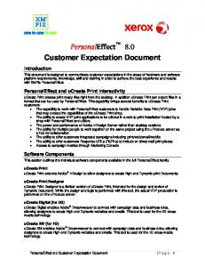 PersonalEffect 8.0 Customer Expectation Document