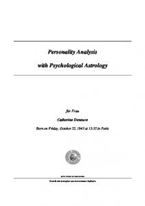 Personality Analysis. with Psychological Astrology