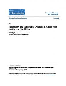 Personality and Personality Disorder in Adults with Intellectual Disabilities