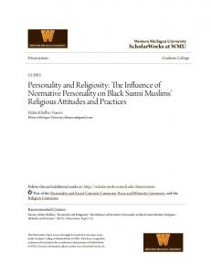 Personality and Religiosity: The Influence of Normative Personality on Black Sunni Muslims' Religious Attitudes and Practices