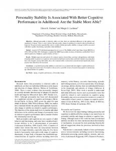 Personality Stability Is Associated With Better Cognitive Performance in Adulthood: Are the Stable More Able?
