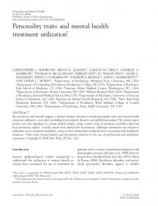 Personality traits and mental health treatment utilization