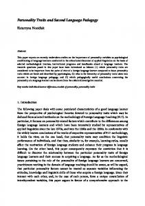 Personality Traits and Second Language Pedagogy