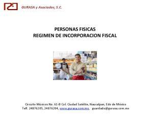 PERSONAS FISICAS REGIMEN DE INCORPORACION FISCAL